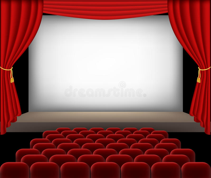 Auditório do cinema com assentos e as cortinas vermelhos ilustração royalty free