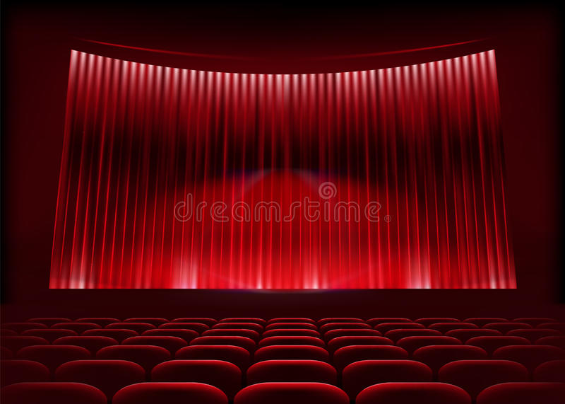 Auditório do cinema com cortina do estágio. ilustração stock