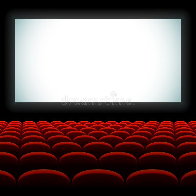Auditório do cinema com tela e assentos ilustração stock
