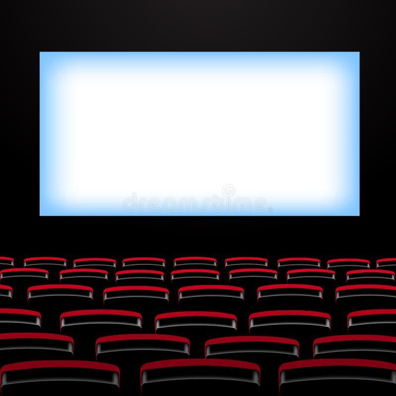 Auditório do cinema com tela e assentos ilustração do vetor
