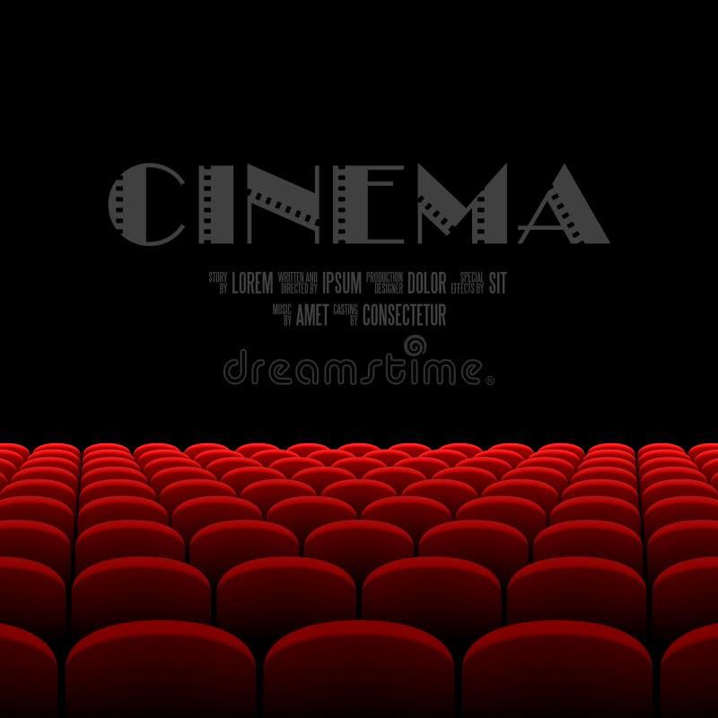 Auditório do cinema com tela preta e assentos vermelhos ilustração royalty free