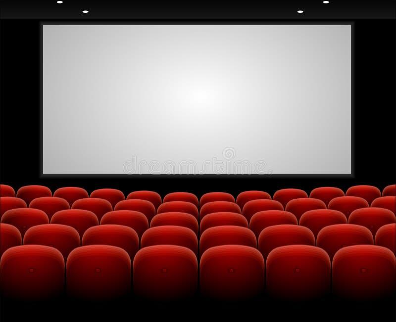 Auditório do cinema do vetor com tela vazia ilustração do vetor