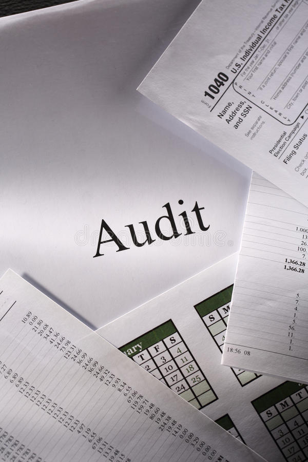 Audit. Operating budget, calendar and audit royalty free stock image