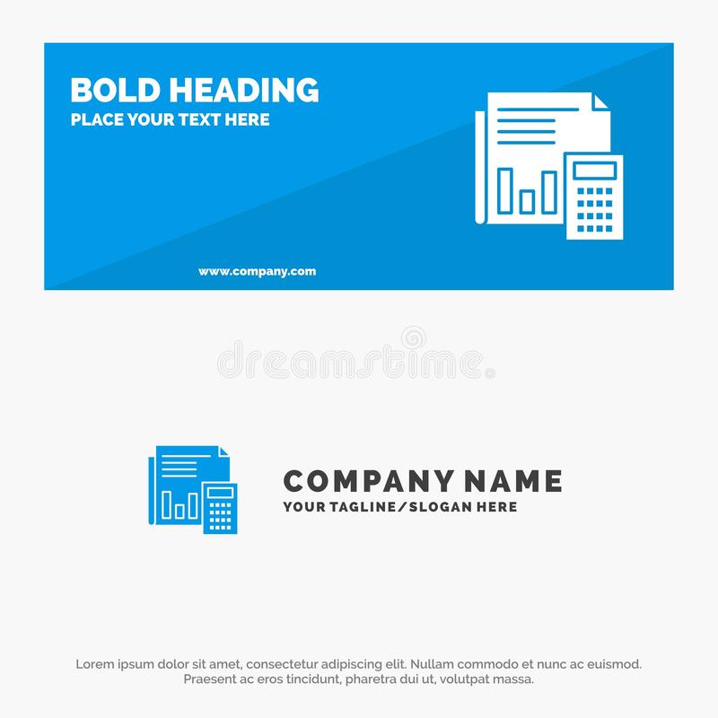Audit, Accounting, Banking, Budget, Business, Calculation, Financial, Report SOlid Icon Website Banner and Business Logo Template vector illustration