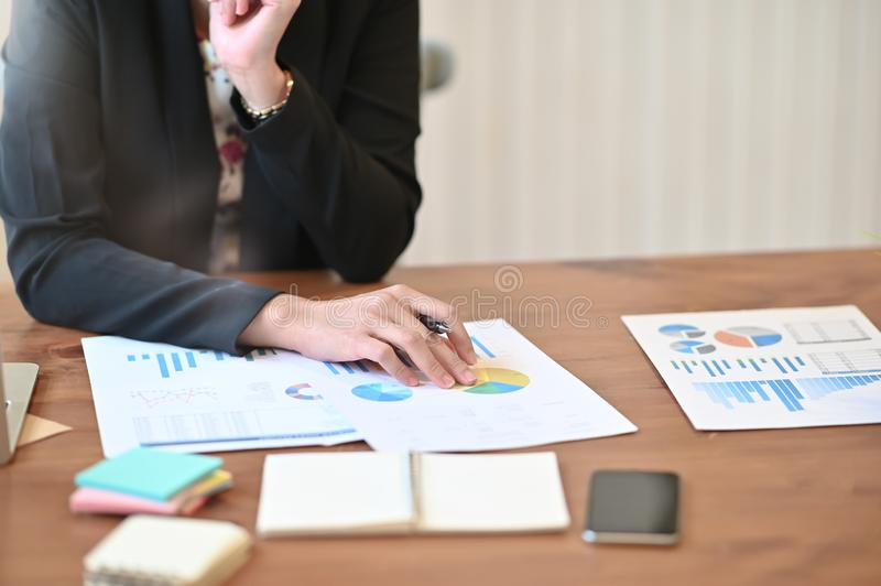 Audit analysis finance data in paper document on working table.  royalty free stock photos