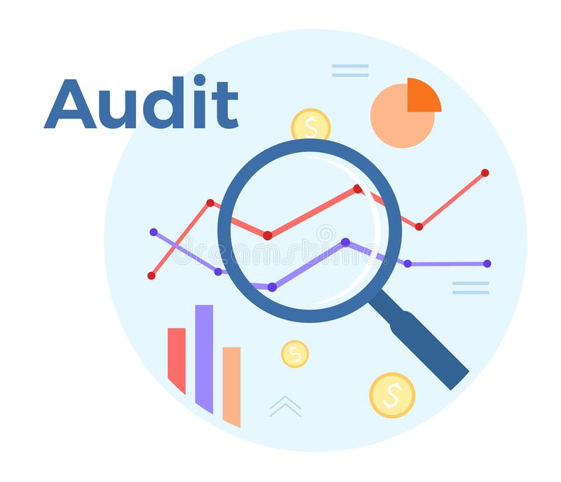Audit analysis vector flat illustration. Concept of accounting, analysis, audit, financial report. Auditing tax process.  royalty free illustration