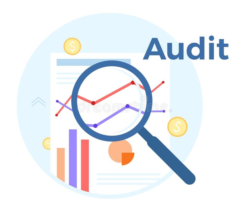 Audit analysis vector flat illustration. Concept of accounting, analysis, audit, financial report. Auditing tax process vector illustration