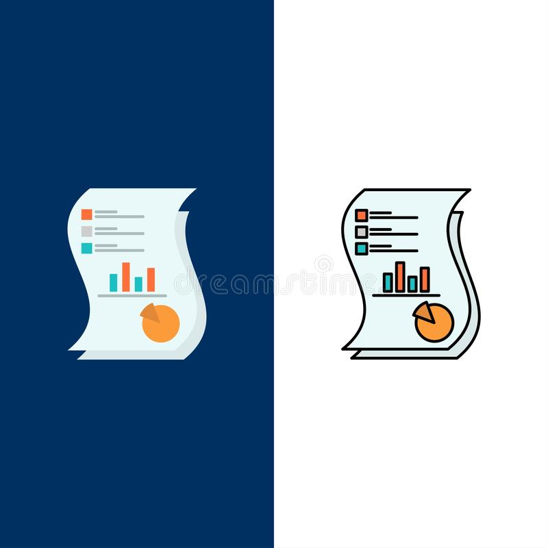 Audit, Analytics, Business, Data, Marketing, Paper, Report  Icons. Flat and Line Filled Icon Set Vector Blue Background royalty free illustration