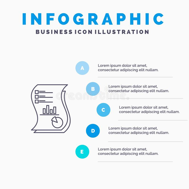 Audit, Analytics, Business, Data, Marketing, Paper, Report Line icon with 5 steps presentation infographics Background royalty free illustration