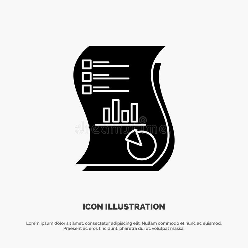 Audit, Analytics, Business, Data, Marketing, Paper, Report solid Glyph Icon vector stock illustration