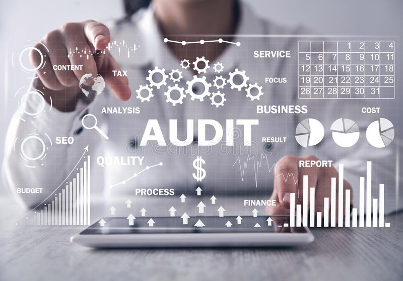 Audit. Business charts with words. Business concept royalty free stock photos