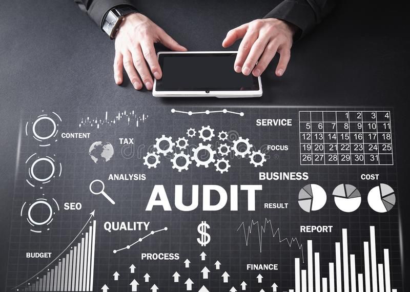 Audit. Business charts with words. Business concept royalty free stock image