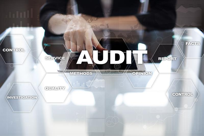 Audit business concept. Auditor. Compliance. Virtual screen technology. royalty free stock photography