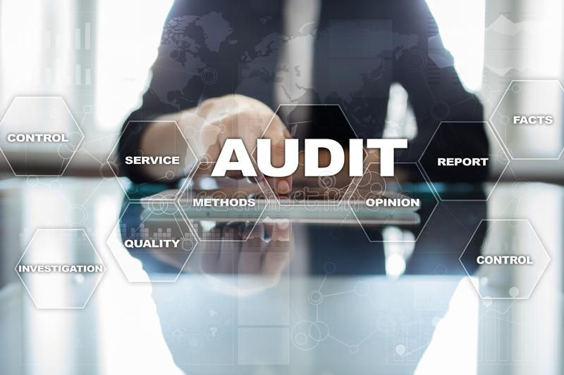 Audit business concept. Auditor. Compliance. Virtual screen technology. royalty free stock photos
