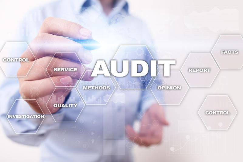 Audit business concept. Auditor. Compliance. Virtual screen technology. royalty free stock image