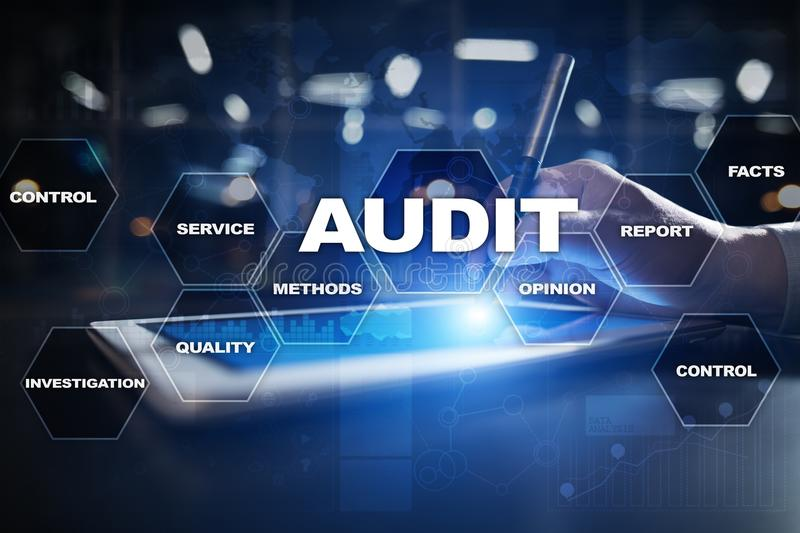 Audit business concept. Auditor. Compliance. Virtual screen technology. Audit business concept Auditor. Compliance. Virtual screen technology royalty free illustration