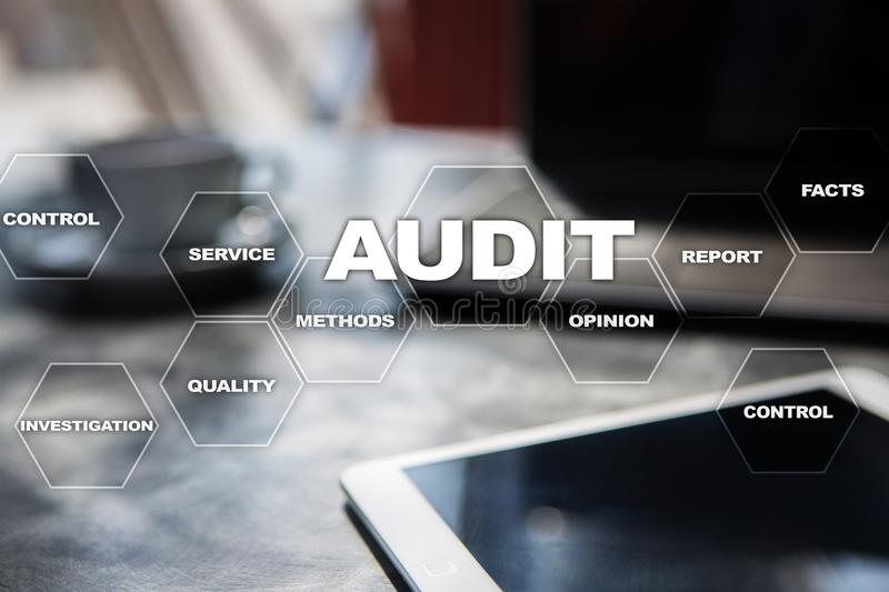 Audit business concept. Auditor. Compliance. Virtual screen technology. Audit business concept Auditor. Compliance. Virtual screen technology royalty free stock photos