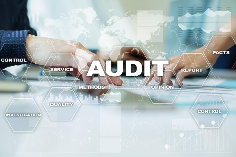 Audit business concept. Auditor. Compliance. Virtual screen technology. Audit business concept Auditor. Compliance. Virtual screen technology stock photo