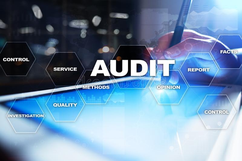 Audit business concept. Auditor. Compliance. Virtual screen technology. royalty free stock photo