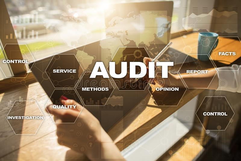Audit business concept. Auditor. Compliance. Virtual screen technology. Audit business concept Auditor. Compliance. Virtual screen technology royalty free stock images