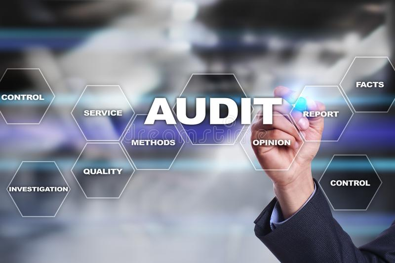 Audit business concept. Auditor. Compliance. Virtual screen technology. Audit business concept Auditor. Compliance. Virtual screen technology royalty free stock photography