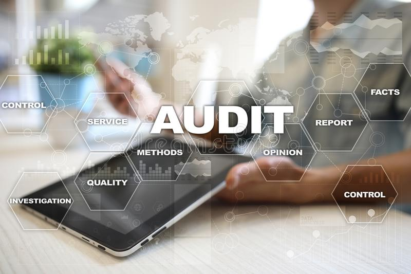 Audit business concept. Auditor. Compliance. Virtual screen technology. Audit business concept Auditor. Compliance. Virtual screen technology royalty free stock photo