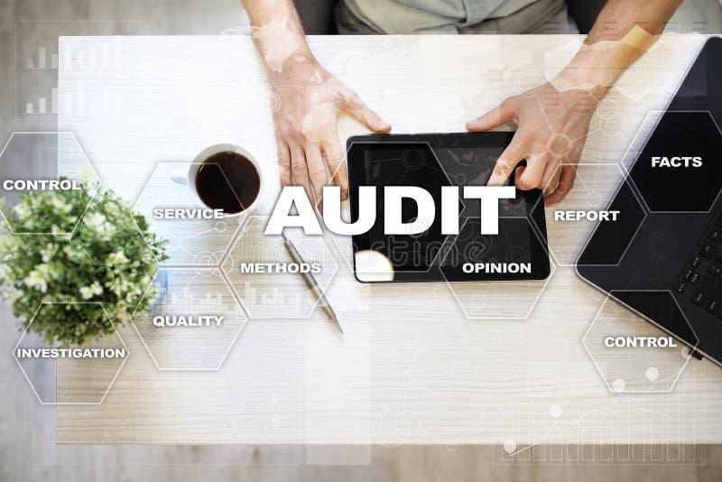 Audit business concept. Auditor. Compliance. Virtual screen technology. Audit business concept Auditor. Compliance. Virtual screen technology stock photos