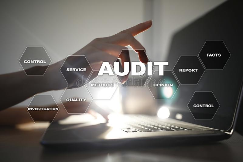 Audit business concept. Auditor. Compliance. Virtual screen technology. stock image
