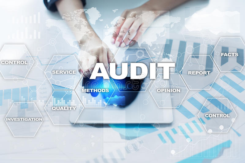 Audit business concept. Auditor. Compliance. Virtual screen technology. Audit business concept Auditor Compliance. Virtual screen technology stock image