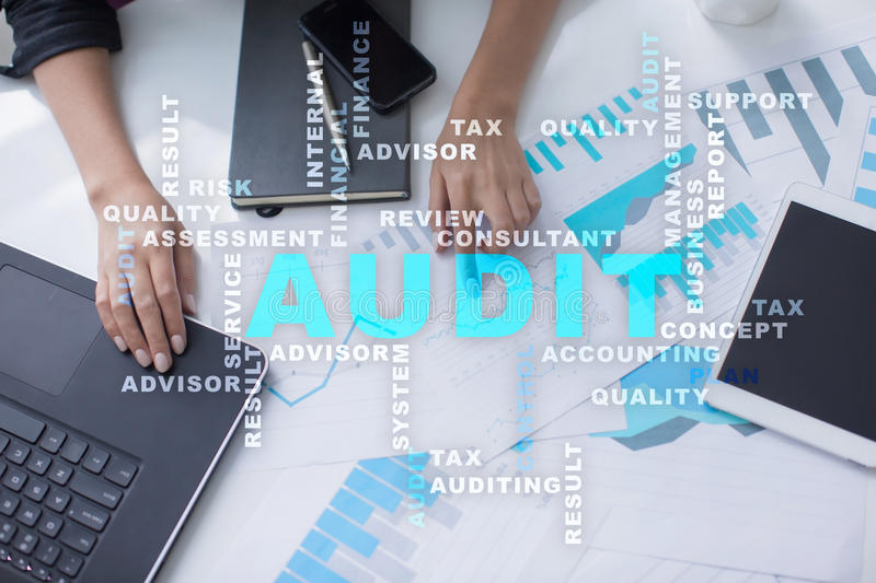Audit business concept. Auditor. Compliance. Virtual screen technology. royalty free stock images