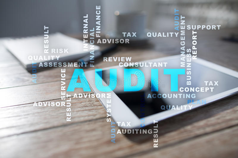 Audit business concept. Auditor. Compliance. Virtual screen technology. Audit business concept Auditor Compliance. Virtual screen technology royalty free stock image