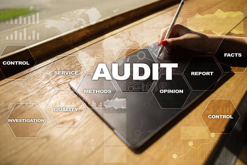 Audit business concept. Auditor. Compliance. Virtual screen technology. Audit business concept Auditor. Compliance. Virtual screen technology stock image