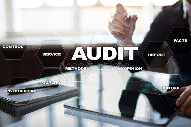 Audit business concept. Auditor. Compliance. Virtual screen technology. Audit business concept Auditor. Compliance. Virtual screen technology stock photography