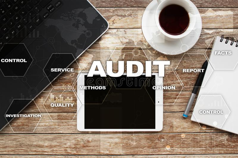 Audit business concept. Auditor. Compliance. Virtual screen technology. Audit business concept Auditor. Compliance. Virtual screen technology stock photos