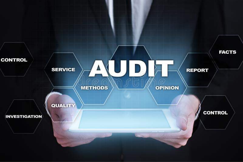 Audit business concept. Auditor. Compliance. Virtual screen technology. stock images