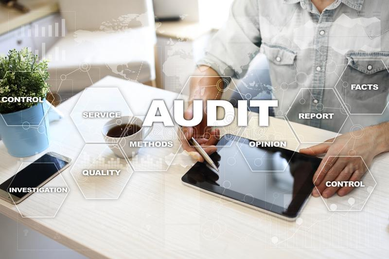 Audit business concept. Auditor. Compliance. Virtual screen technology. stock photography