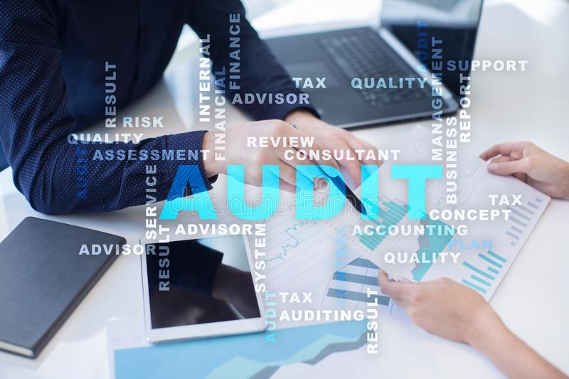 Audit business concept. Auditor. Compliance. Virtual screen technology. Audit business concept Auditor. Compliance. Virtual screen technology. Words cloud stock image