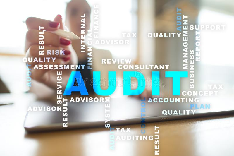 Audit business concept. Auditor. Compliance. Virtual screen technology. Audit business concept Auditor. Compliance. Virtual screen technology. Words cloud stock photo
