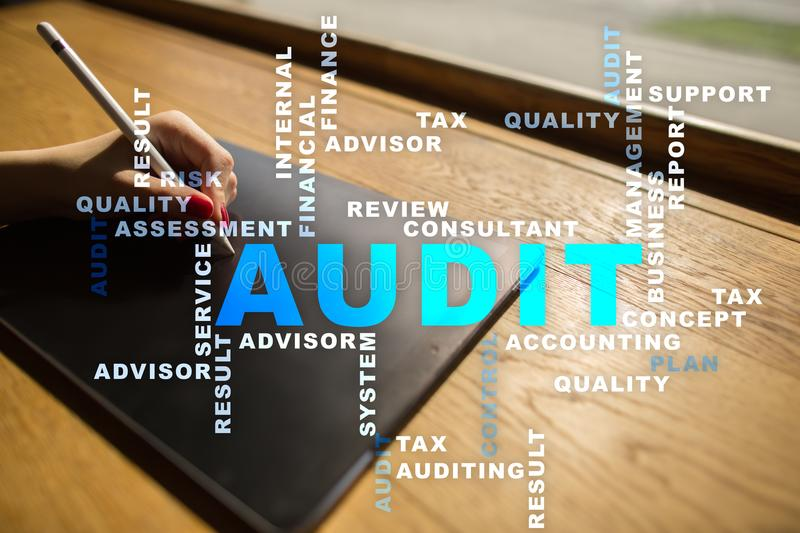 Audit business concept. Auditor. Compliance. Virtual screen technology. Audit business concept Auditor. Compliance. Virtual screen technology. Words cloud royalty free stock photo