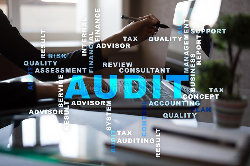 Audit business concept. Auditor. Compliance. Virtual screen technology. Audit business concept Auditor. Compliance. Virtual screen technology. Words cloud royalty free stock images