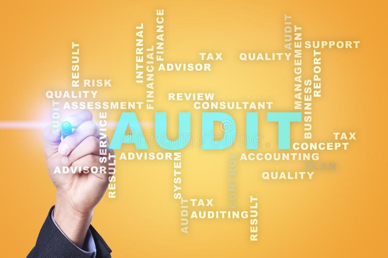 Audit business concept. Auditor. Compliance. Virtual screen technology. Audit business concept Auditor. Compliance. Virtual screen technology. Words cloud stock images