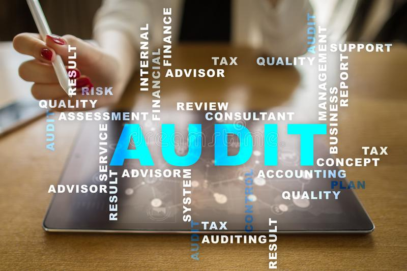 Audit business concept. Auditor. Compliance. Virtual screen technology. Audit business concept Auditor. Compliance. Virtual screen technology. Words cloud stock photography
