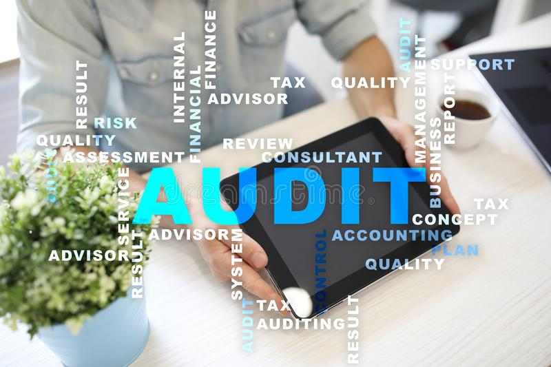 Audit business concept. Auditor. Compliance. Virtual screen technology. Audit business concept Auditor. Compliance. Virtual screen technology. Words cloud stock photos