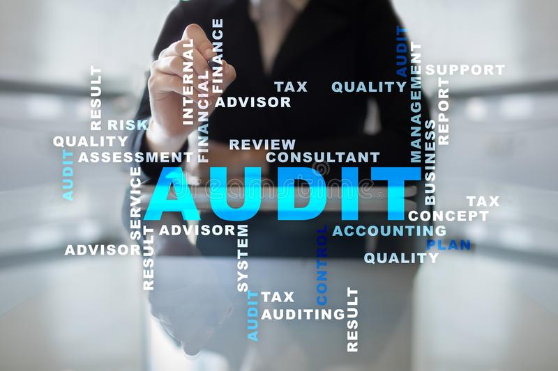 Audit business concept. Auditor. Compliance. Virtual screen technology. Words cloud. royalty free stock photography