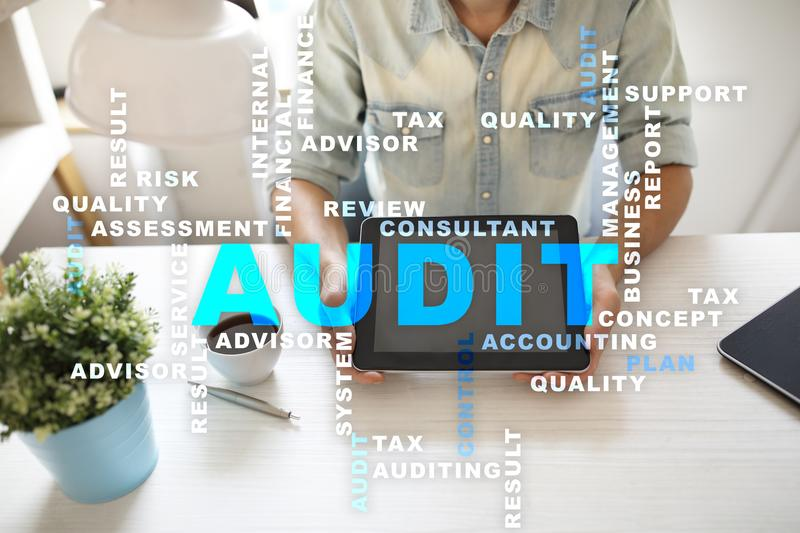 Audit business concept. Auditor. Compliance. Virtual screen technology. Words cloud. royalty free stock images