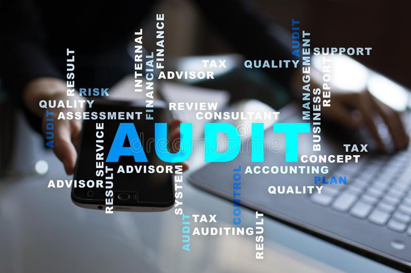 Audit business concept. Auditor. Compliance. Virtual screen technology. Words cloud. Audit business concept Auditor. Compliance. Virtual screen technology stock images