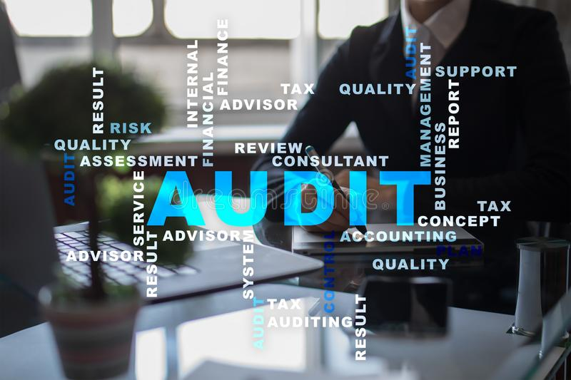 Audit business concept. Auditor. Compliance. Virtual screen technology. Words cloud. Audit business concept Auditor. Compliance. Virtual screen technology stock photo