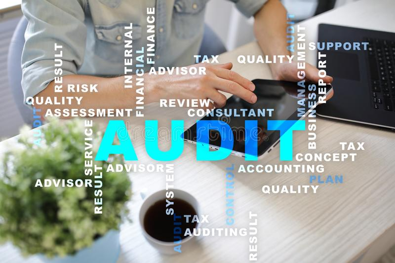 Audit business concept. Auditor. Compliance. Virtual screen technology. Words cloud. Audit business concept Auditor. Compliance. Virtual screen technology royalty free stock image