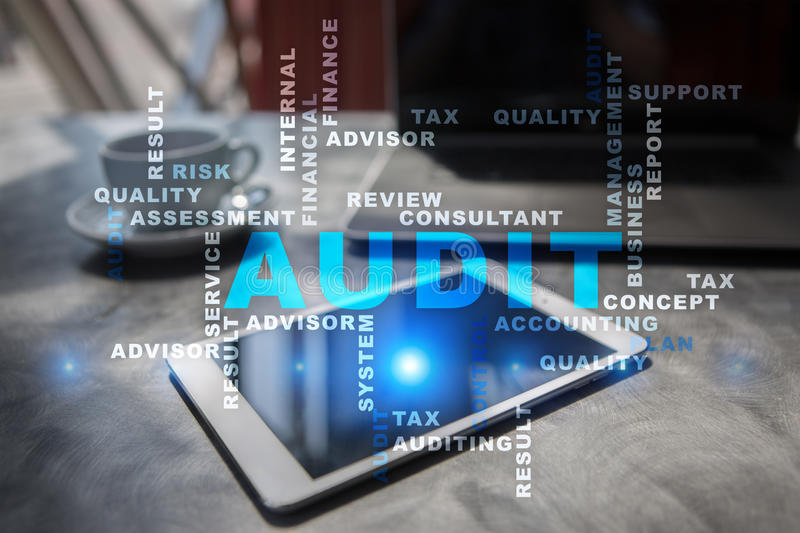 Audit business concept. Auditor. Compliance. Words cloud. stock photography
