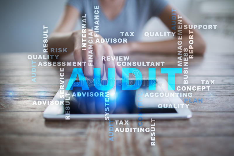 Audit business concept. Auditor. Compliance. Words cloud. Audit business concept. Auditor Compliance. Virtual screen technology. Words cloud royalty free stock image